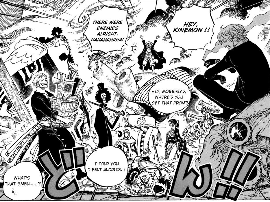 One Piece Chapter 977- The Party's Off! The Straw Hats take out the vanguard.