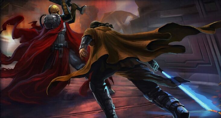 Revan faces Mandalore the Ultimate in the final battle of the Mandalorian Wars Star Wars