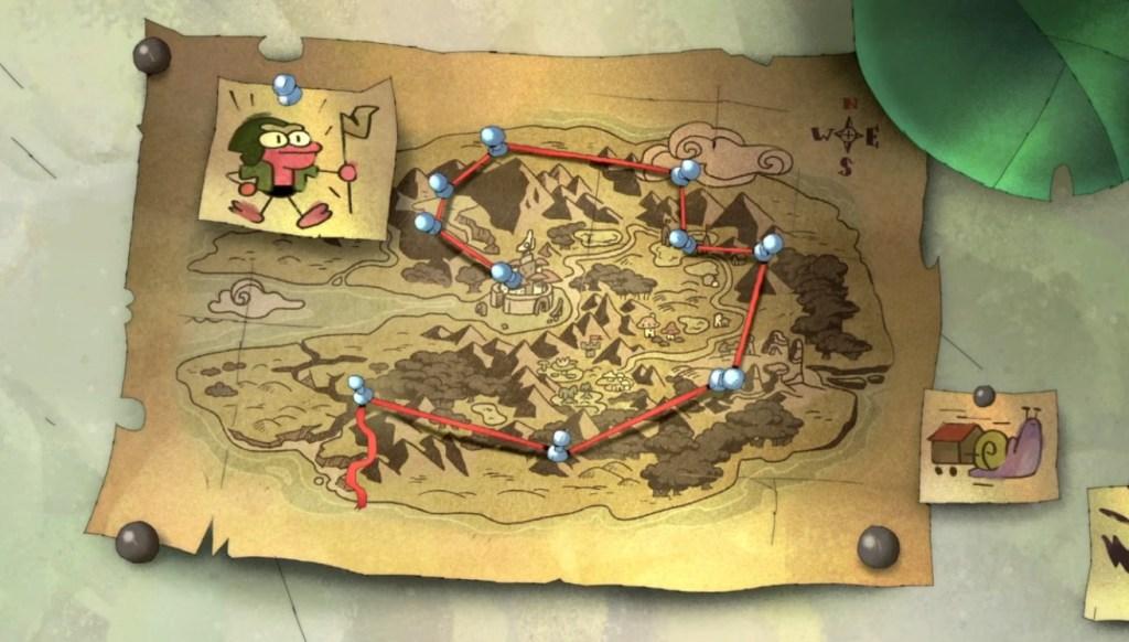 Amphibia Season 2 Episode 13-Map of Plantar's Route to Newtopia