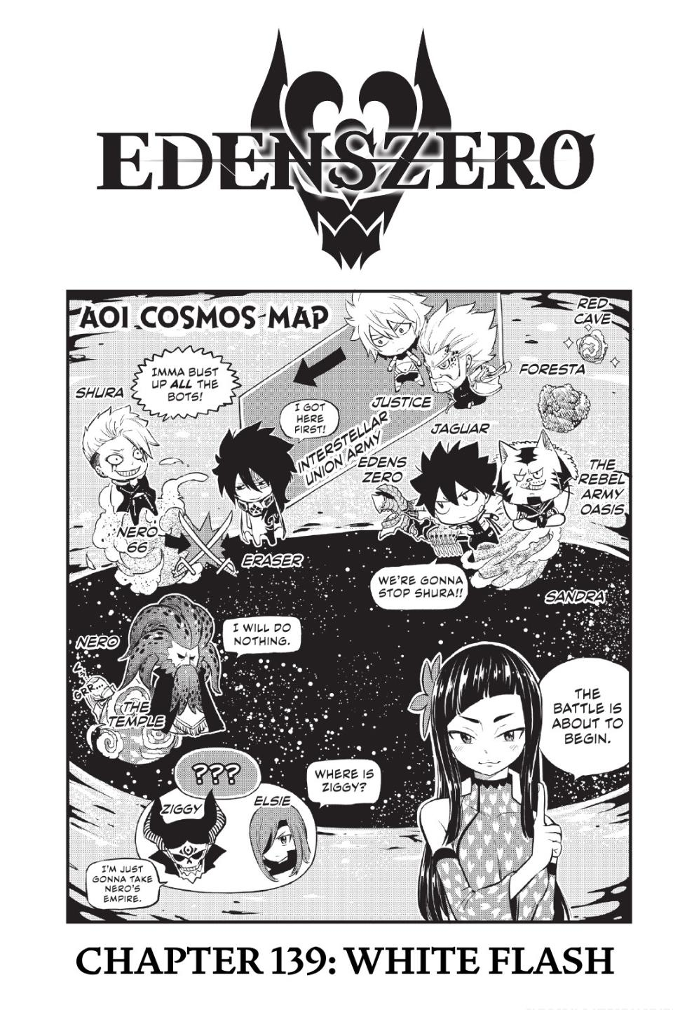 Edens Zero Chapter 139 Cover Page/Map
