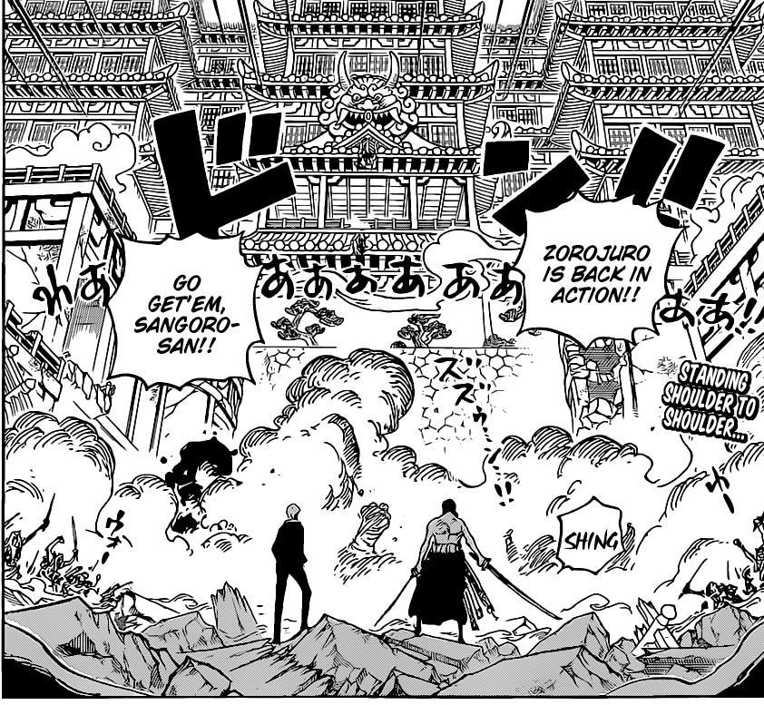 One Piece Chapter 1023-Sanji and Zoro Kick Ass