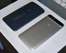Rear views of the Nexus 6 (left) and Nexus 6P (right)