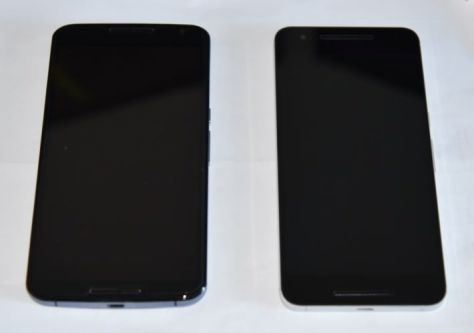 Front views of the Nexus 6 (left) and Nexus 6P (right)