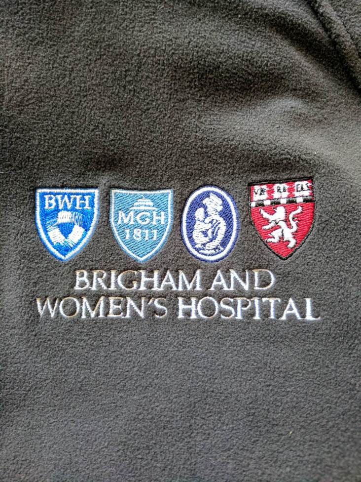 New fleece with the logos of BWH, MGH, Boston Children's, and Harvard