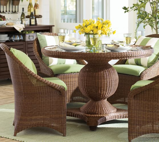kitchen chairs on casters keekaroo high chair review palmetto all-weather wicker round pedestal dining table & set - honey | pottery barn