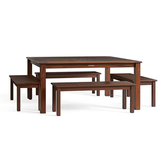 chatham square dining table bench set pottery barn