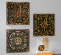 Sahara Printed Wood Tiles Wall Art Set | Pottery Barn