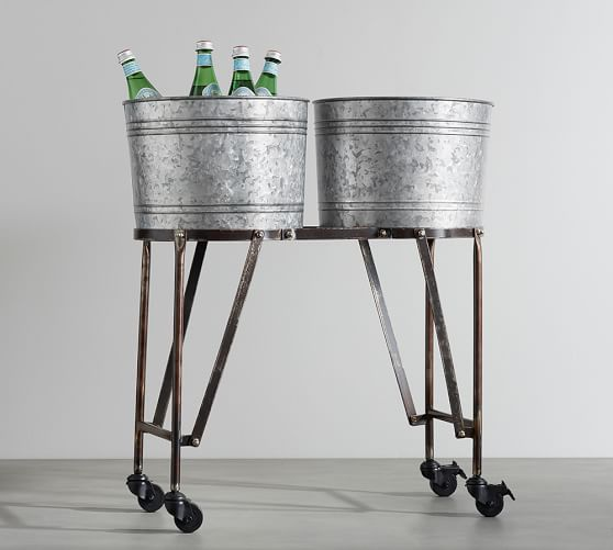 Galvanized Metal Double Beverage Tub With Stand  Pottery Barn