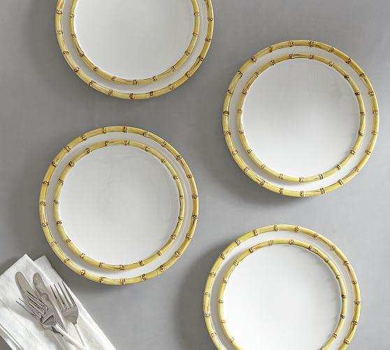 Bamboo Melamine Dinnerware, Set of 4