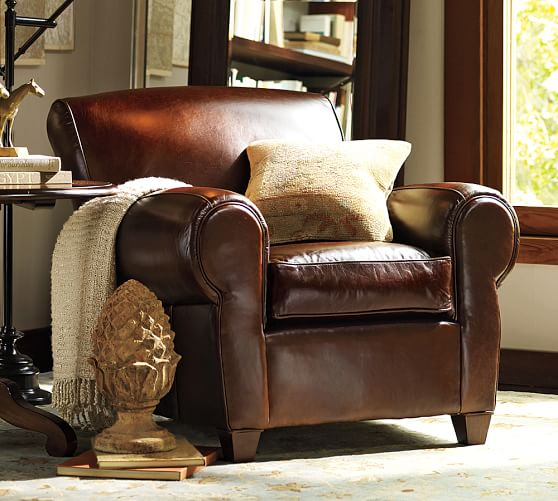 pottery barn club chair gold wedding chairs manhattan leather armchair |
