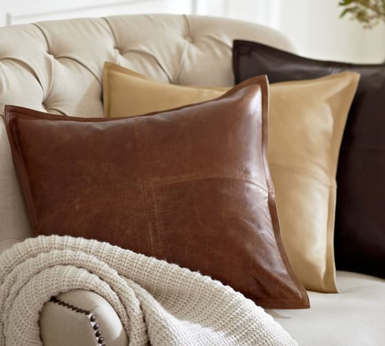 Pieced Leather Pillow Cover  Pottery Barn