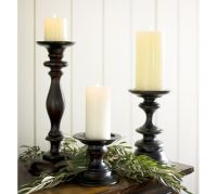 Turned Wood Pillar Candleholder | Pottery Barn