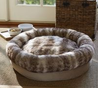 Faux Fur Bolster Dog Bed | Pottery Barn