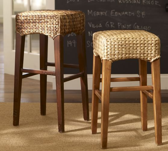 wood frame accent chairs side for living room seagrass backless barstool | pottery barn