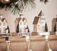 Lit German Glitter Village Houses Stocking Holders ...