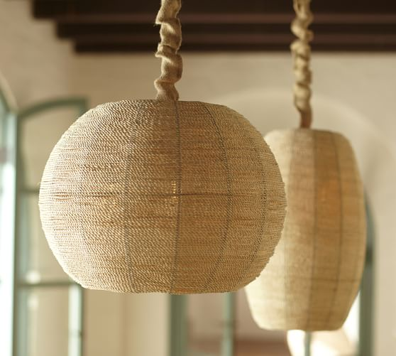 pottery barn chairs dining office chair swivel abaca woven pendant  