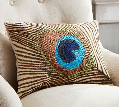 Peacock Feather Embroidered Lumbar Pillow