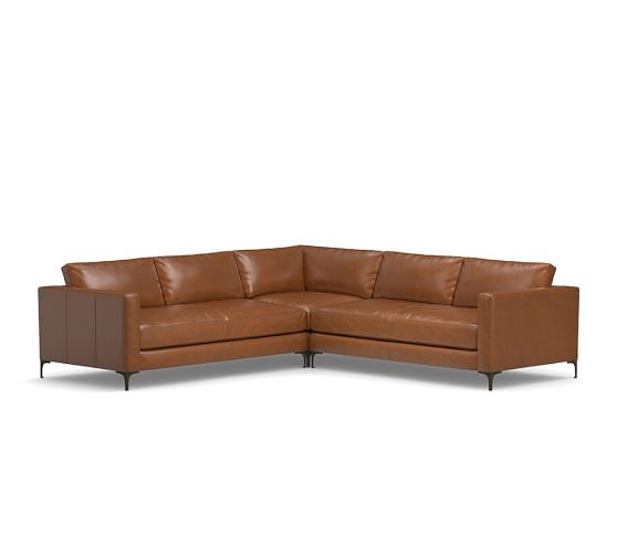 Jake Leather 3Piece LShaped Sectional  Pottery Barn