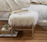 Tavi Mongolian Faux Fur Stool | Pottery Barn