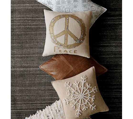 Metallic Embroidered Peace Sign Pillow Cover  Pottery Barn