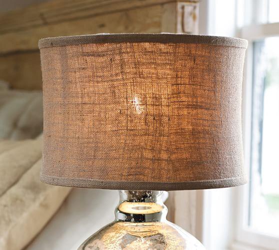 Burlap Flared Drum Lamp Shade