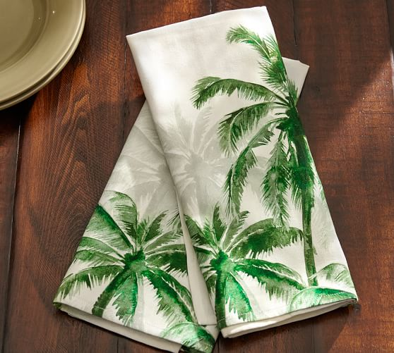 kitchen island outlet sink bottom grid palm trees tea towel, set of 2 | pottery barn