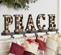 Lit Bronze Word Stocking Holder - PEACE | Pottery Barn