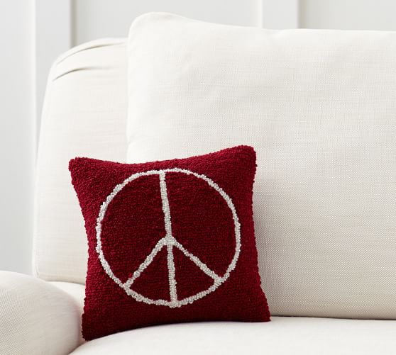 Peace Sign Pillow  Pottery Barn