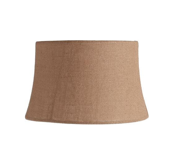 Burlap Upholstered Tapered Drum Lamp Shade