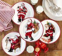 Painted Santa Claus Dinnerware | Pottery Barn