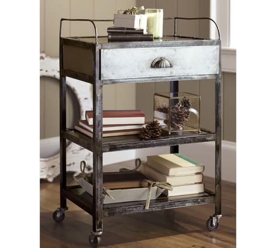 Metal Rolling Cart Bedside Table