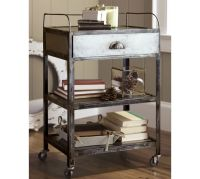 Metal Rolling Cart Bedside Table | Pottery Barn