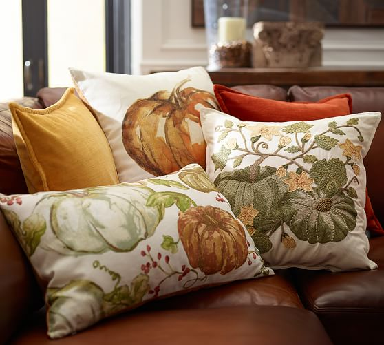 100 cotton sofas mission oak leather sofa pumpkin patch crewel embroidered pillow cover | pottery barn