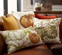 Pumpkin Patch Crewel Embroidered Pillow Cover | Pottery Barn