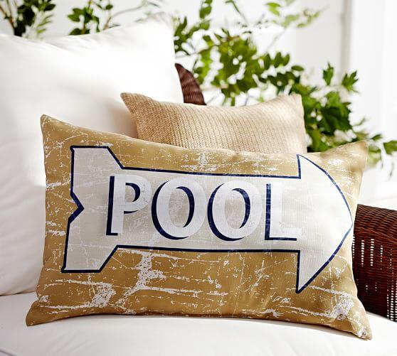 Pool Sentiment IndoorOutdoor Lumbar Pillow  Pottery Barn