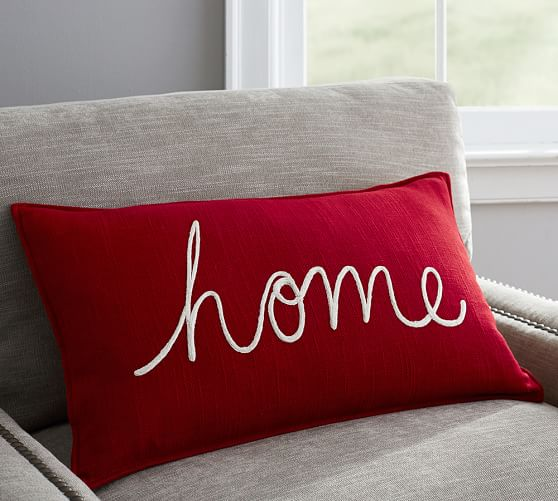 Home Embroidered Lumbar Pillow Cover  Pottery Barn