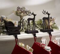 Santa's Sleigh Stocking Holders   Pottery Barn