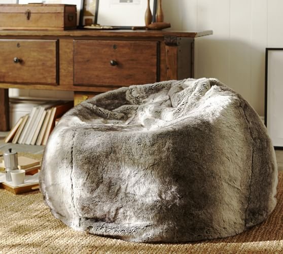 sears kitchen tables formica countertops faux fur beanbag - gray | pottery barn