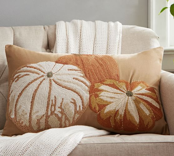 Pumpkin Embroidered Lumbar Pillow Cover  Pottery Barn