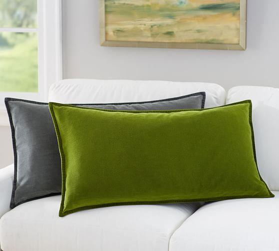 Oversized Washed Velvet Lumbar Pillow Cover  Pottery Barn