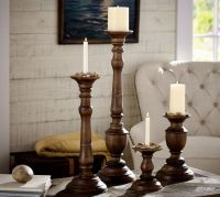 Oxford Turned Wood Candleholders | Pottery Barn