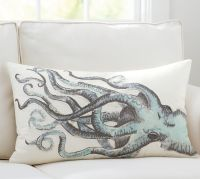 Painted Octopus Embroidered Lumbar Pillow Cover | Pottery Barn