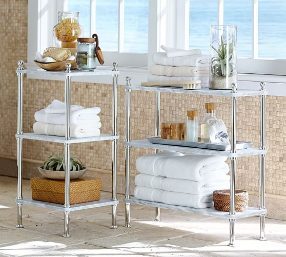 Metal & Marble Etagere  Pottery Barn