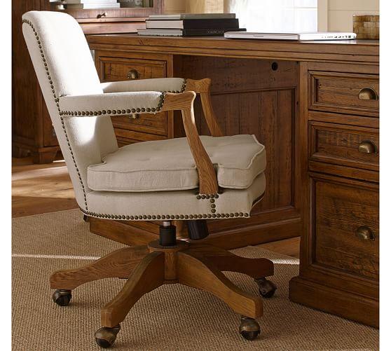 Brock Upholstered Swivel Desk Chair  Pottery Barn