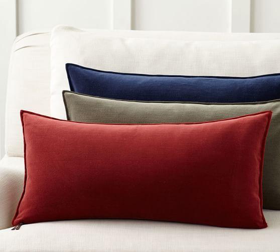 Washed Velvet Zip Lumbar Pillow Cover  Pottery Barn