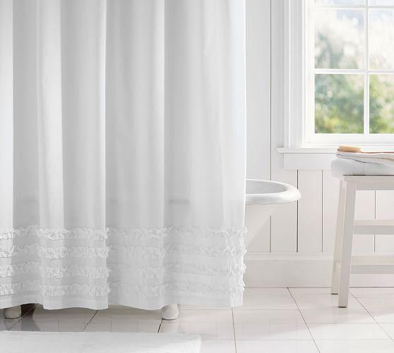 Mini Ruffle Shower Curtain  Pottery Barn