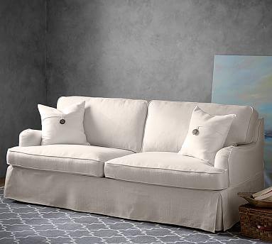 petite belgian track arm slipcovered sofa covers uk argos designer love soma hawthorne english by pottery barn 749
