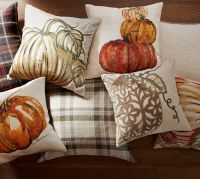 Velvet Pumpkin Applique Pillow Cover | Pottery Barn