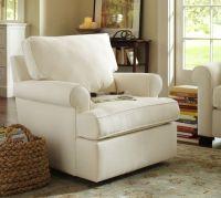 Buchanan Roll Arm Upholstered Swivel Armchair | Pottery Barn