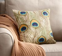 Peacock Feather Embroidered Pillow